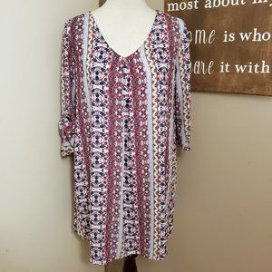 Pink Rose Boho Shift Dress